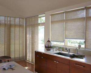 Woven wood shades look great in kitchens!