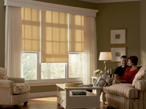 Custom Cornice with Designer Roller Shades