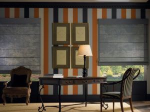 Stripped Wallpaper with Designer Studio™ Roman Shades