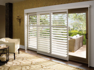 Palm Beach™ Polysatin™ Shutters for a Sliding Door