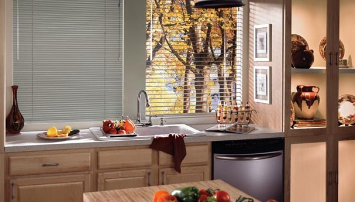 Reveal horizontal blinds in the kitchen